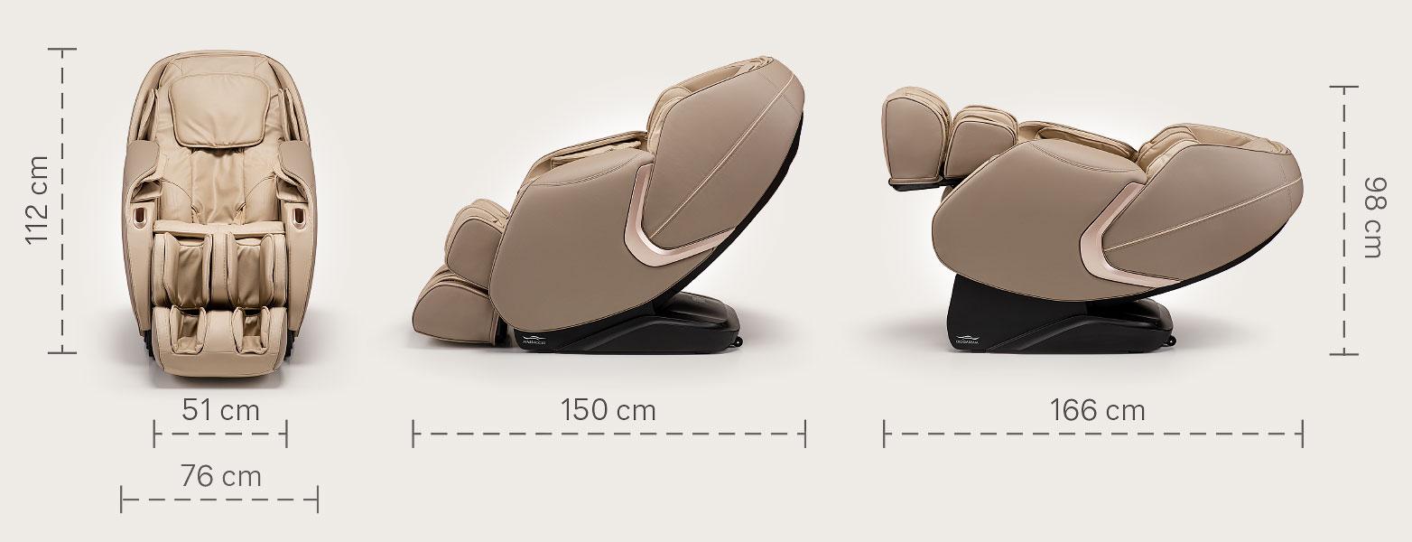 Fotel masujący Massaggio Eccellente 2 PRO - wymiary