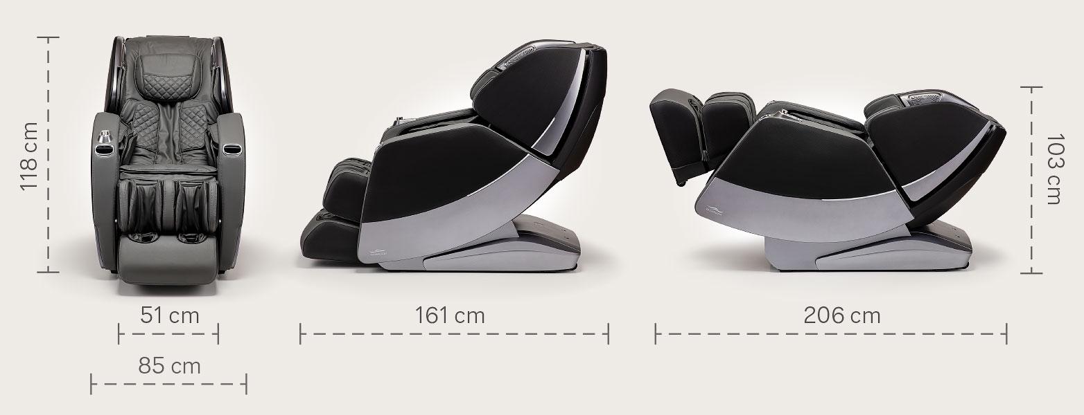 Fotel masujący Massaggio Stravagante 2 - wymiary